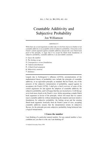 Countable Additivity and Subjective Probability - Joel Velasco