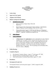 Council Agenda Monday, August 24, 2009 - City of St. John's
