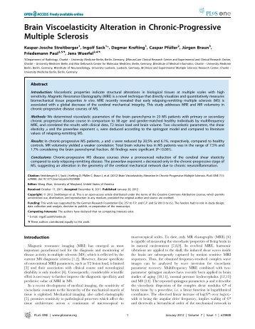 Brain Viscoelasticity Alteration in Chronic ... - Elastography