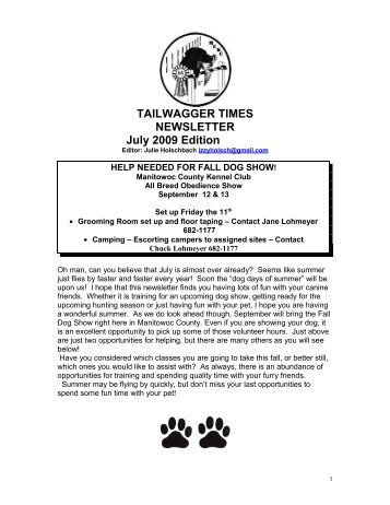 TAILWAGGER TIMES NEWSLETTER July 2009 Edition - Manitowoc ...
