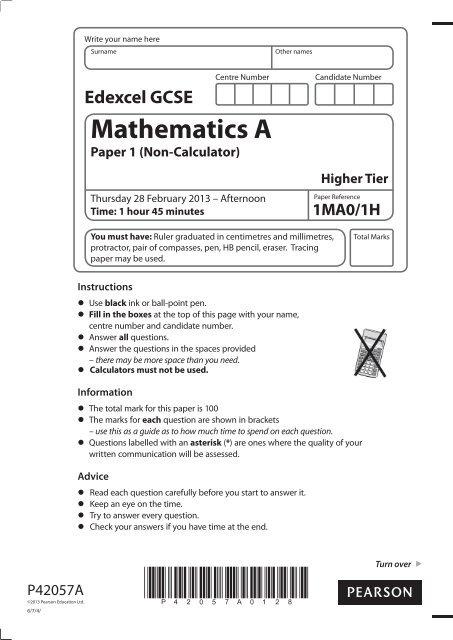 edexcel maths foundation mark scheme november 2013