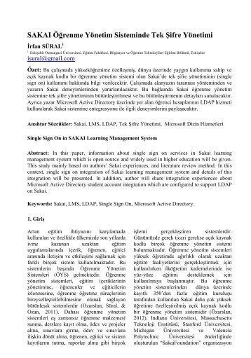 SAKAI Öğrenme Yönetim Sisteminde Tek Şifre Yönetimi - Akademik ...