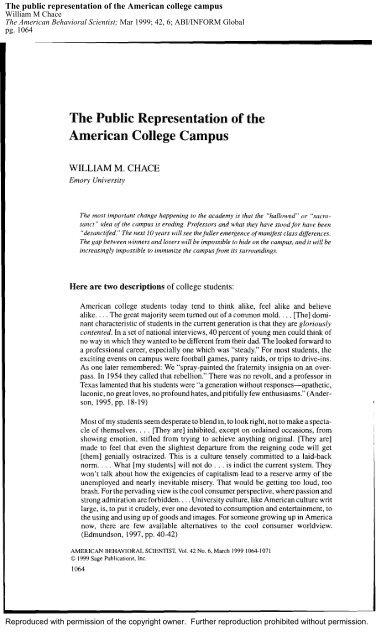 The public representation of the American college campus