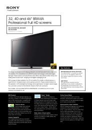"32, 40 and 46"" BRAVIA Professional Full HD screens - ELVIA Display"