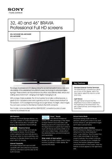 "32, 40 and 46"" BRAVIA Professional Full HD screens - ELVIA Display"