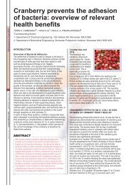 Cranberry prevents the adhesion of bacteria: overview of relevant ...