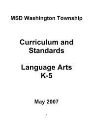 Elementary Standards - MSD Washington Township
