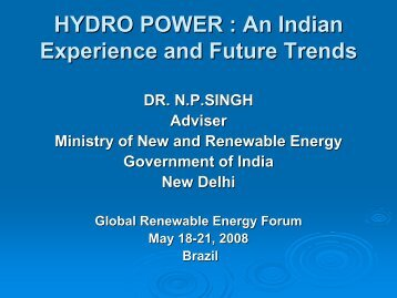 HYDRO POWER : An Indian Experience and Future Trends - unido