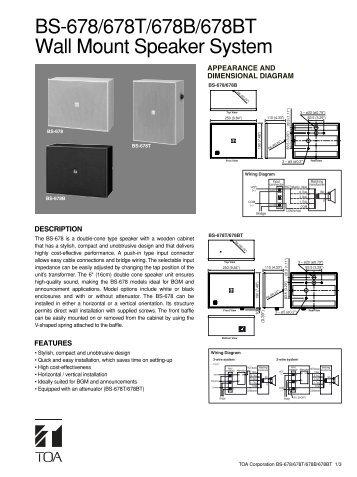BS-678/678T/678B/678BT Wall Mount Speaker System - Eltek