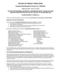 NOTICE OF PRIVACY PRACTICES - IRG
