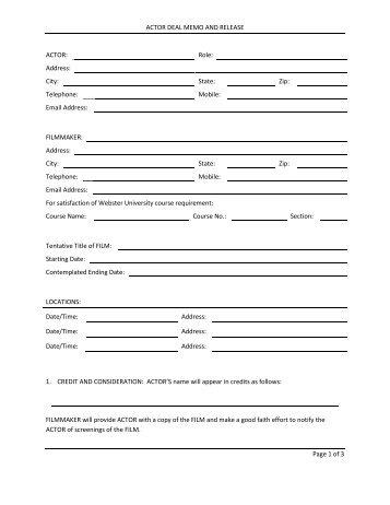 Actor Deal Memo Release - Webster University