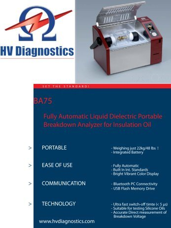 Technical Data Sheet - HV Diagnostics