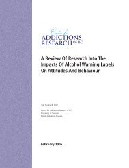 A Review Of Research Into The Impacts Of Alcohol ... - CARBC
