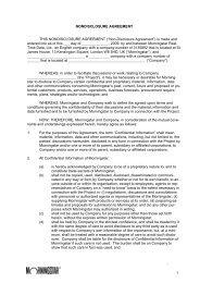 Morningstar's Non-Disclosure Agreement