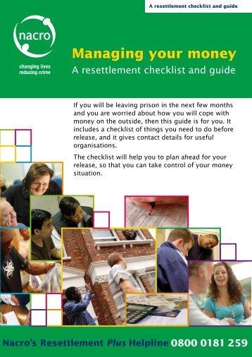 Managing your money checklist - Social Welfare Portal