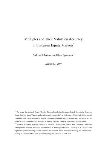 Multiples and Their Valuation Accuracy in European Equity Markets