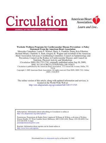 Worksite Wellness Programs for Cardiovascular ... - NutriLearning