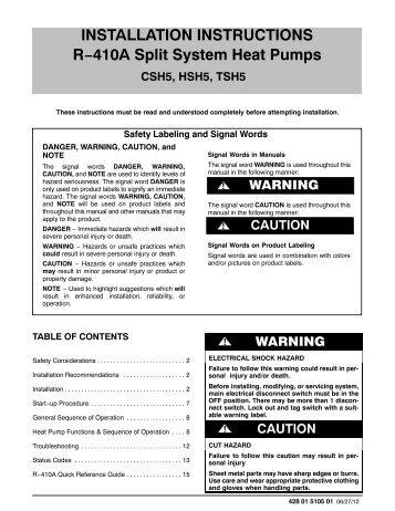 CSH5, HSH5, TSH5 R-410A Split System Heat Pump Installation ...