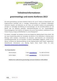 Teilnehmerinformationen - Green Meetings & Events