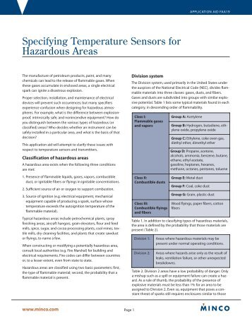 Specifying Temperature Sensors for Hazardous ... - Temflex Controls