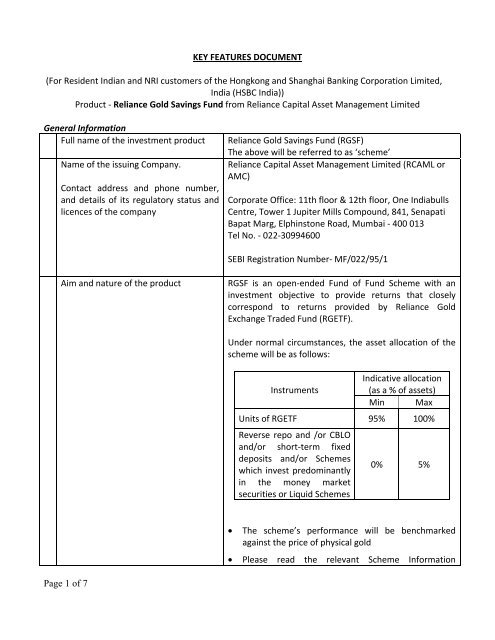 Page 1 of 7 KEY FEATURES DOCUMENT (For Resident     - Hsbc