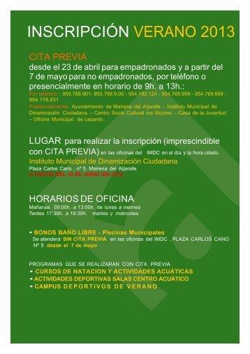 Folleto Web VERANO 2013.pdf - Ayuntamiento de Mairena del ...