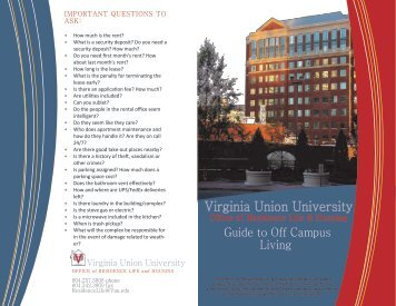 to view the Off Campus Housing Brochure - Virginia Union University