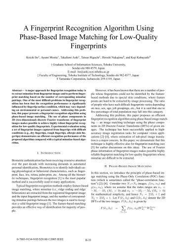Fingerprint recognition algorithm pdf