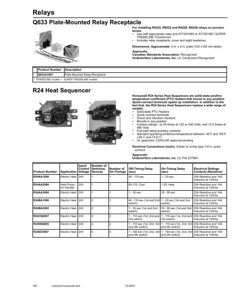 Honeywell R8330D1039 Specifications on