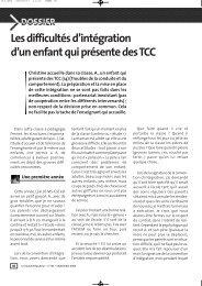 Les difficultés d'intégration d'un enfantqui présente des TCC - Icem