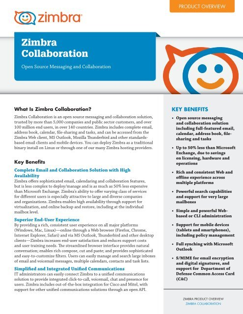 Zimbra Collaboration Product Overview