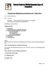 Protokoll der Mitgliederversammlung vom 7. März 2012