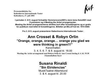 Ann Crosset & Robyn Orlin Susana Rinaldi Maya Krishna Rao