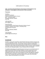 Increasing Aboriginal Business Development & Participation in the ...