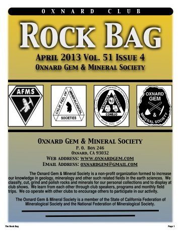 April 2013 Rock Bag Web Copy - Oxnard Gem & Mineral Society