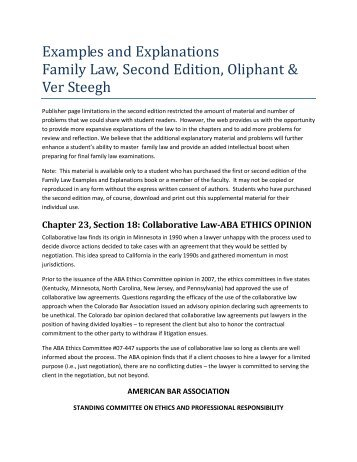 Examples & explanations: family law, fourth edition by robert e.