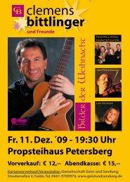 Fr. 11. Dez. ´09 - 19:30 Uhr Propsteihaus Petersberg - Geist und ...