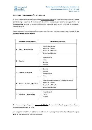 MATERIAS Y ORGANIZACIÓN DEL CURSO Rama de conocimiento ...