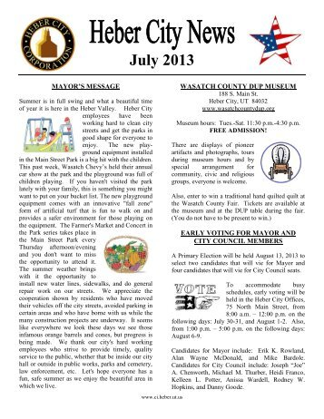 July 2013 Newsletter - Heber City