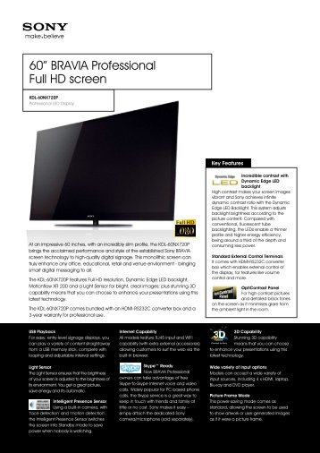 "60"" BRAVIA Professional Full HD screen"