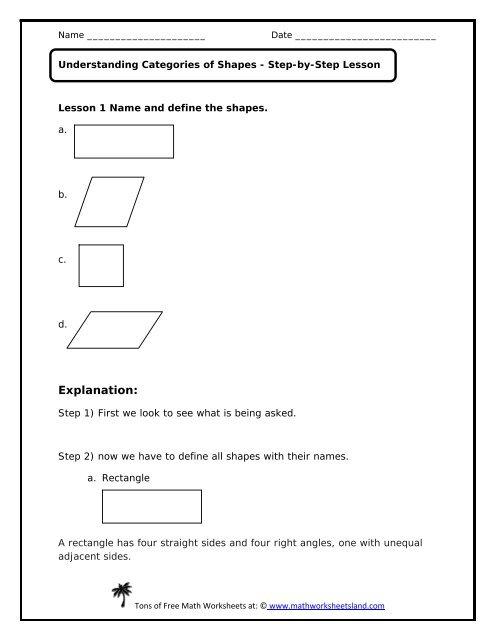 Understanding Categories of Shapes Lesson - Math Worksheets Land