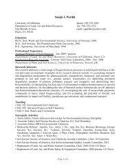Curriculum Vitae - Environmental Soil Chemistry - UC Davis