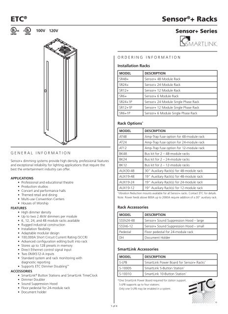 ETC 96 channel Sensor Racks - Skyline College