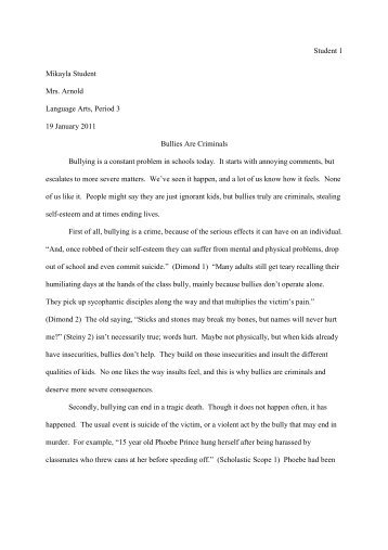 Bullying in schools essay examples