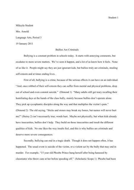persuasive essay bullying sample   wpusd