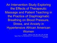 The Effects Of Therapeutic Massage And Patient Teaching In - IUPUI