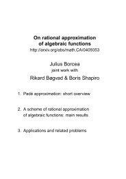On rational approximation of algebraic functions Julius Borcea ...