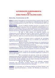 19/12/1991 - Autorización Zona Franca de Colonia Suiza S.A