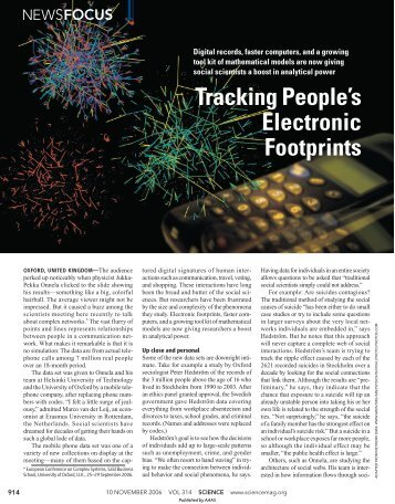 Tracking People's Electronic Footprints - John Bohannon