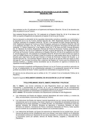 REGLAMENTO GENERAL DE APLICACIÓN A LA LEY DE TURISMO